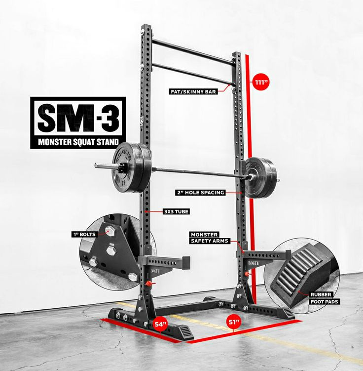 "Rogue SM-3 Monster Squat Stand - 3x3"" Steel Uprights - Pull-Up Bar"