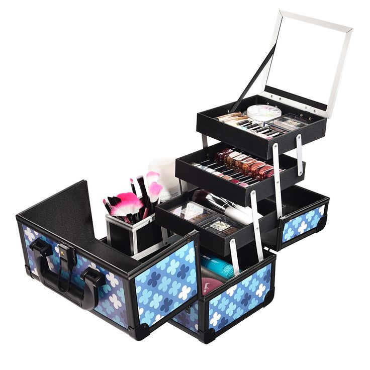 Blue Print Professional Makeup Train Case with Brush Holder--Joligrace Travel makeup case with mirror Artis makeup case Makeup vanity with storage Makeup organizer with mirror Best makeup case Big makeup case Cheap makeup organizer Cosmetic train case Makeup case with brush holder Makeup organizer with drawers Makeup case with lock Makeup artist train case Portable makeup case