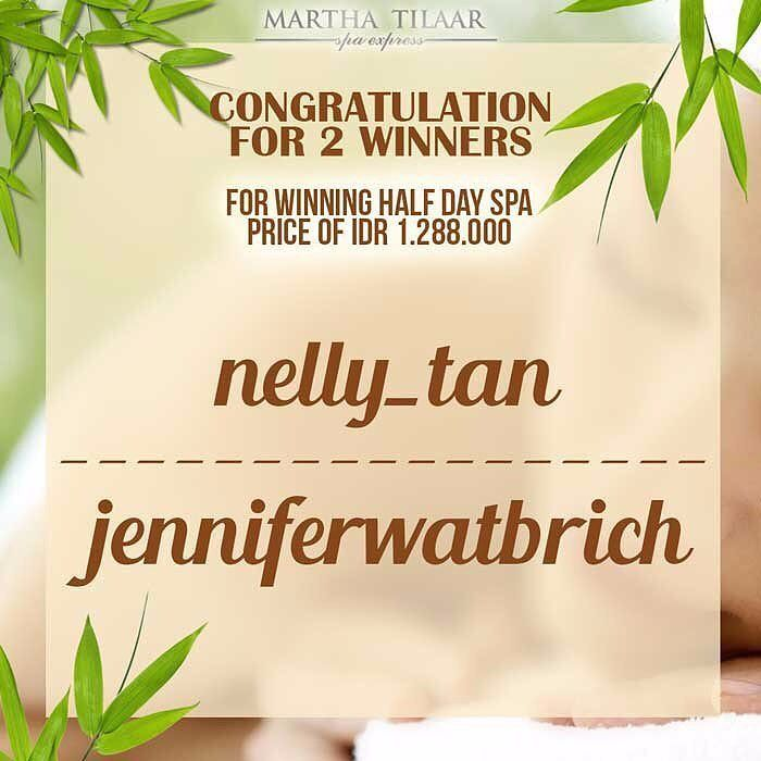 Congratulation for 2 winner of Martha Tilaar Express Half Day Spa Winner! @nelly_tan  @jenniferwatbrich  2 of this winner can enjoy Half Day Spa package B that worth Rp 1.288.000 by showing your Instagram Profile and your GoDeal app and make the appointment before treatment. - What is included in Half Day Spa Package B included at Martha Tilaar Express? 1. Dewi Sri Spa Express Treatment (Whitening B.Countouring Reviving and Sensual) or Candlelosophy Express Treatment (herbs fruit and flower…