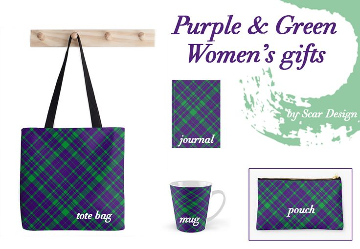 Purple & Green Women's gifts.  #organizepouches #fashion #accessories #style  #pouch #scarf #journal #iphonecase #samsunggalaxycase   #scardesign #giftsforher #design #totebag  #purple #modern #mug #coffeemug #online #shopping #pinterest #pin #art #plaid #giftset #gifts #giftsforher