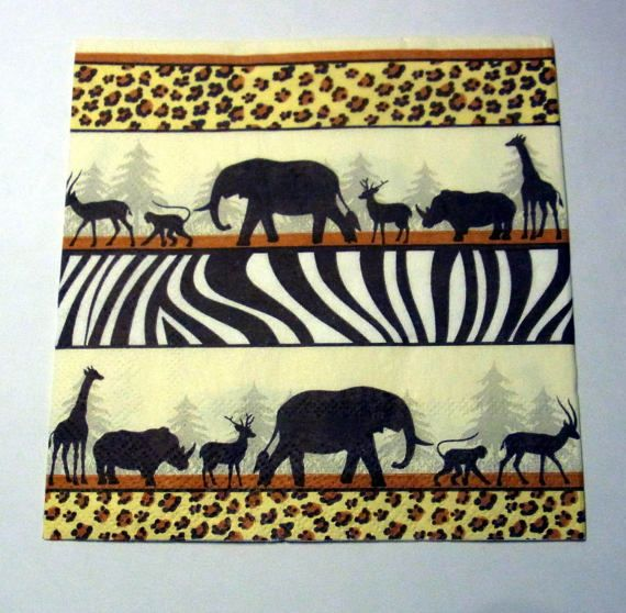Decoupage Napkins  vintage paper napkins African by eryka91