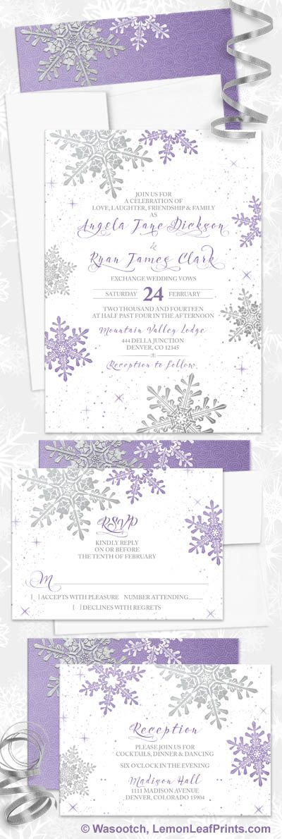 Purple silver snowflake winter wedding invitation set. Perfect for a winter wonderland wedding or a snowflake wedding.
