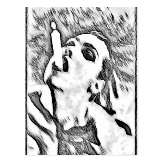 """Need a light? Artistic pencil sketch postcard  Dimensions: 4.25"""" x 5.6"""" (portrait) or 5.6"""" x 4.25"""" (landscape)     Full color CMYK print process     Double sided printing for no additional cost     Postage rate: $0.34 Paper Type: Matte The most popular paper choice, Matte's eggshell texture is soft to the touch with a smooth finish that provides the perfect backdrop for your chosen designs. Light white, uncoated matte finish with an eggshell texture     Made and printed in the USA"""