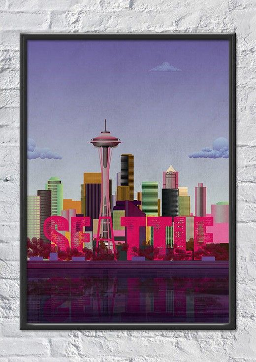 seattle art print 1595 this lovely seattle art print will make a great art edition