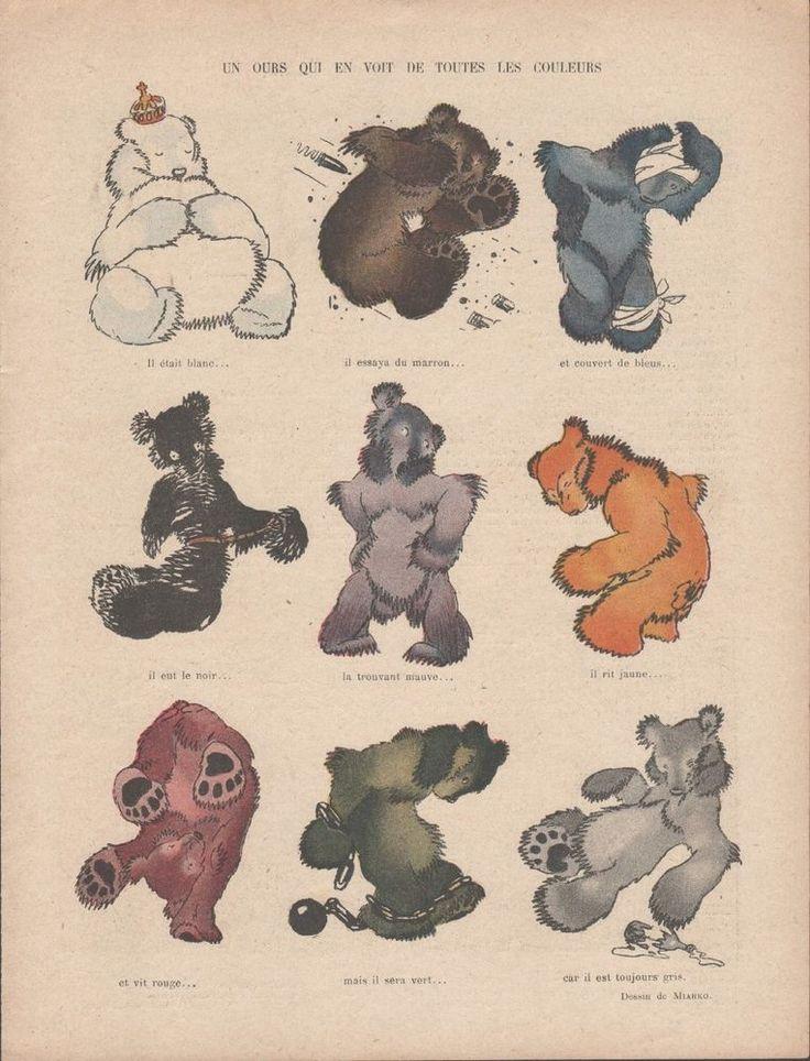 Un Ours qui en voit de toutes les couleurs - Dessin Miarko Gravure Ancienne 1919