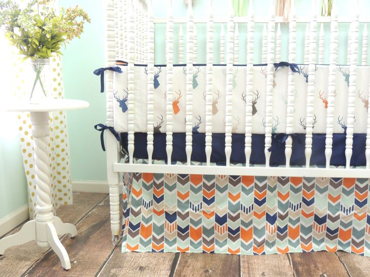 Boutique Crib Bedding In Navy Orange Gray And Mint With Deer Head Theme 3rd BabyBaby BoyBurnt