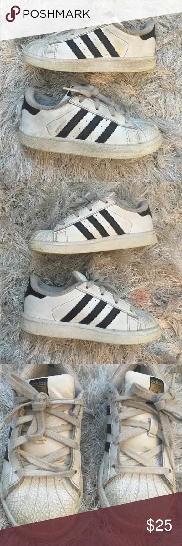 Adidas Superstars Toddler Girls Adidas Superstar Toddler Girls                                              Size 10                                                                                    Shoes show signs of wear. Please see all pics. Have not tried to clean. Dirt may come off with a good cleaning or wash.  Scuff marks and some fraying on top of shoes. adidas Shoes Sneakers