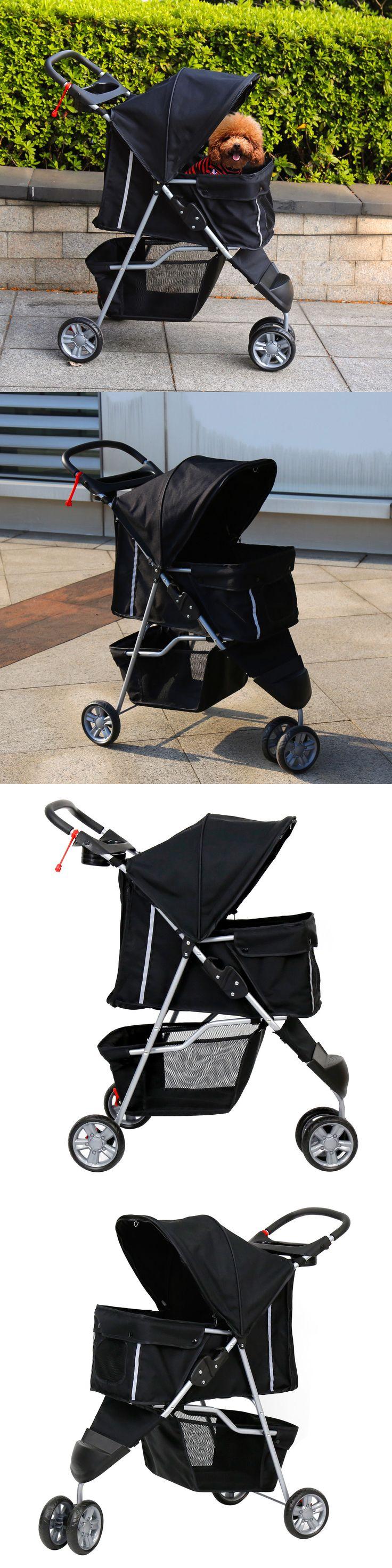 Carriers and Totes Kinbor Pet Stroller Cat Dog 3 Wheel Walk Jogger Travel Folding