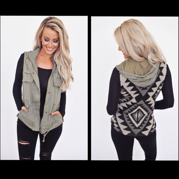 COMING SOONOlive Tribal Sweater Back Vest Olive Tribal Sweater Back Vest With Detachable HoodCOMMENT BELOW IF YOU WANT TO BE TAGGED WHEN THEY ARRIVECOMING SOON!!! Jackets & Coats Vests