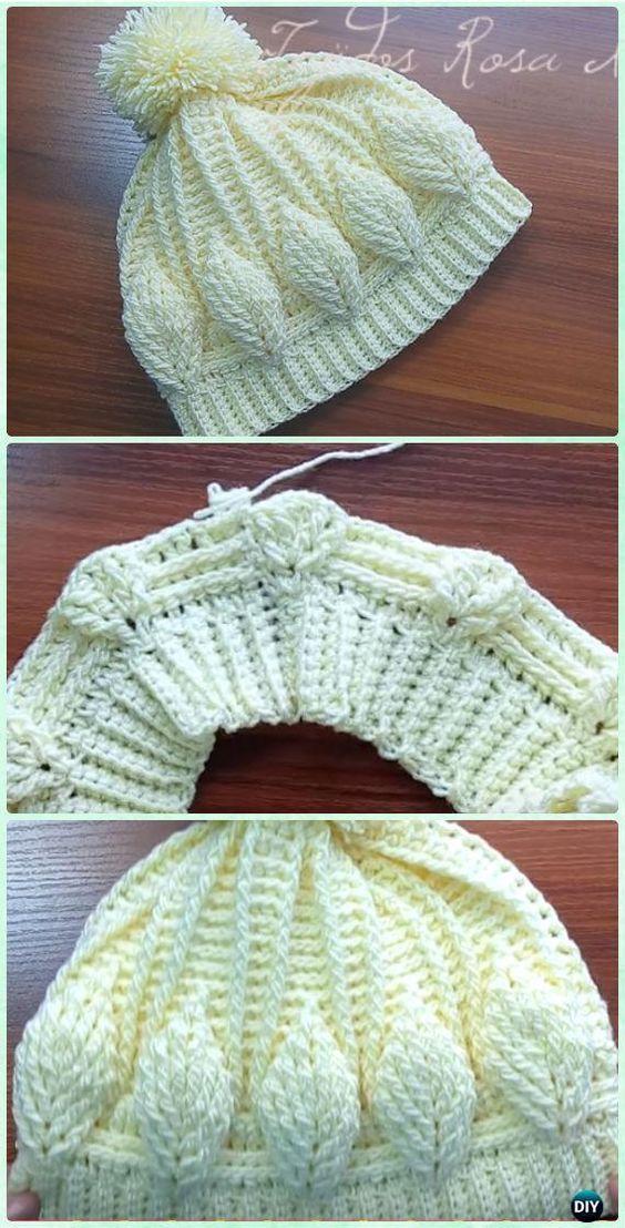 Hoja de ganchillo Beanie Hat 3D libres del patrón [Video] - Patrones de ganchillo Beanie Hat gratis