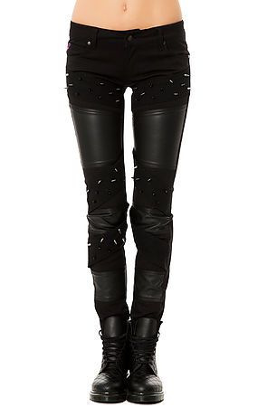 Tripp NYC- The Spike & Faux Leather Pant  These bondage style spiked pants are a perfect way to dress up a simple look. Paired with a plain tshirt these pants will speak for themselves, or add some combat boots and a blazer to mix up your style. $100