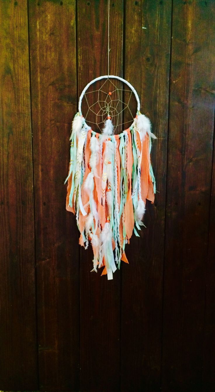 Large Dream Catcher Dreamcatcher Wall Hanging Dream Catcher Bohemian Decor Coral and Mint Dream Catcher Woodland Nursery Hippie Decor (45.00 USD) by BohemianBlush