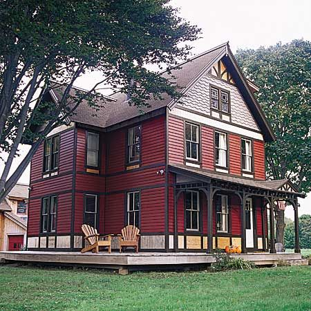 "This Old House Renovation ""He meant to fix it up, sell it, and forget it. But somewhere between removing the asbestos siding and rebuildng the porch, this woodworker became deeply attached to the 1890 farmhouse he now calls home."""