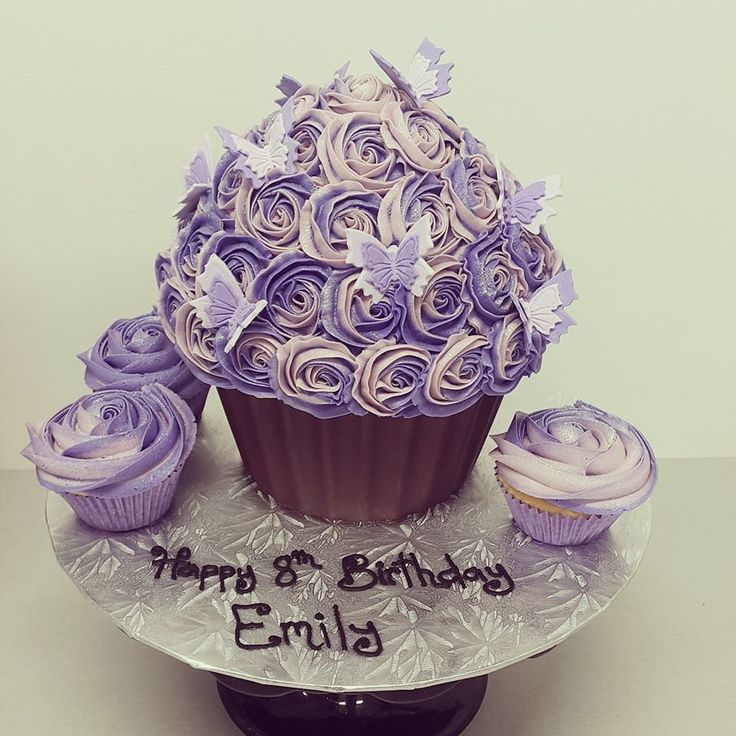 Cream and Purple Two Tone Roses with Butterflies Giant Cupcake
