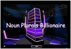 """This is an image from this resource on the Internet4Classrooms' """"Seventh Grade Language Skill Builders - Plurals"""" resource page: Billionaire Noun Plurals Game. This is a classroom game where students review plural nouns by answering questions to win billions.(Great game for ESL.)"""