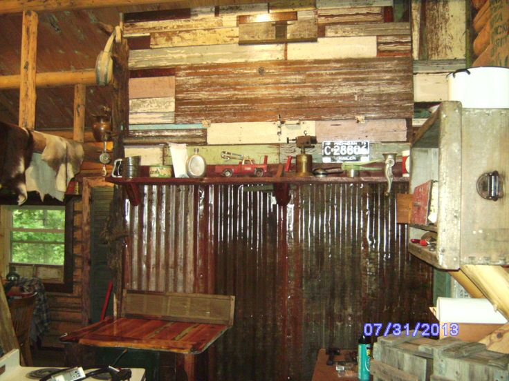 Recycled Wood From 1940s Home For Interior Walls Old Doors Tin Roofing For Lower Wall Coated