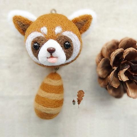 Needle Felted Felting Wool project Animals Raccoon Charm Cute Craft