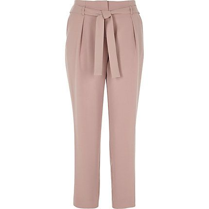 Pink tie waist tapered trousers £35.00