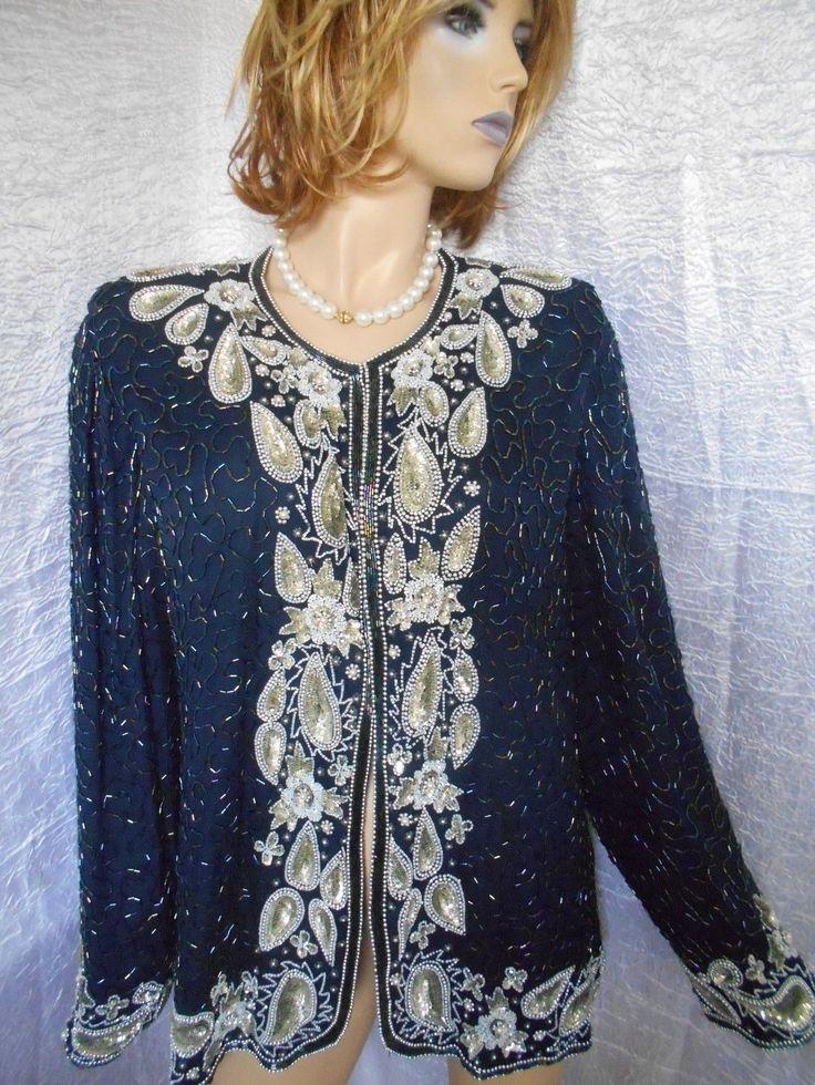 New LAURENCE KAZAR 3X Beaded Sequined Evening Wedding Jacket 100% Silk GORGEOUS!   eBay