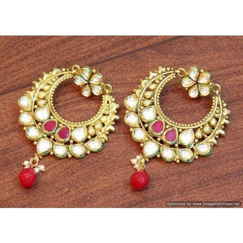 Celebrity royal collection kundan pearl chand bali earring