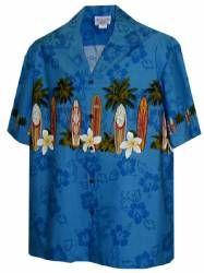 Boards Plumeria Boys Hawaiian Aloha Shirt in Blue