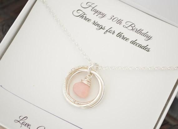 October birthstone necklace, 30th Birthday gift for her, 30th Birthday gift for her, Family of 3, Opal birthstone necklace, 3 Best friends