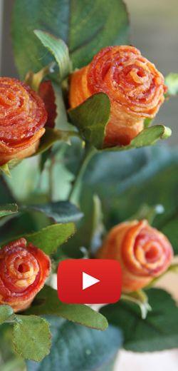 Comment faire des roses de bacon.  http://rienquedugratuit.ca/videos/comment-faire-des-roses-de-bacon/