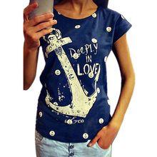 Feitong moda 2015 delle donne di stile di estate magliette della stampa della lettera di ancoraggio cotone sottile camicie casual supera il trasporto libero(China (Mainland))