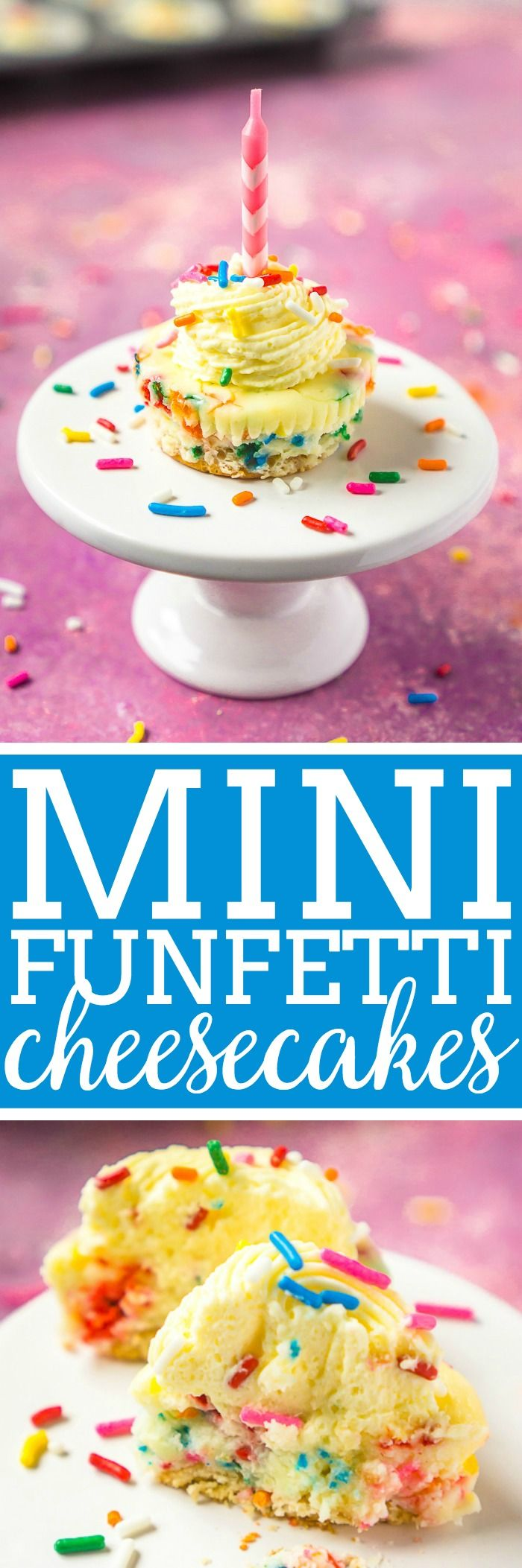 My favorite birthday cake recipe? Funfetti Cheesecake, of course! Cute, creamy, and colorful - these mini cheeseakes with vanilla wafers for crusts are an easy dessert recipe you are going to love!  The Love Nerds #cheesecakerecipe #birthdaycake #funfettirecipe via @lovenerdmaggie