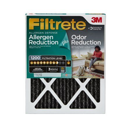 Filtrete Allergen Plus Odor Reduction Air and Furnace Filter, Available in Multiple Sizes, 1pk, Black