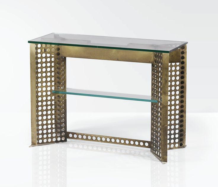 Pierre LEGRAIN (1889-1929) CONSOLE, vers 1924, de forme rectangulaire, en métal perforé nickelé, supportant un plateau et une tablette d'entretoise en verre. A nickel plated metal and glass console table by PIERRE LEGRAIN, circa 1924. (hva)