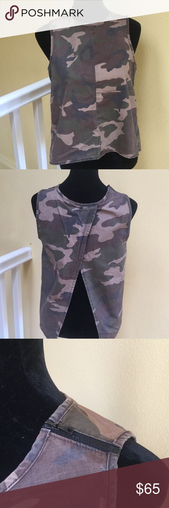 Rag and bone camouflage top Used rag and bone denim camouflage top.  Has zipper on top right shoulder. Open in the back. Trendy top for spring! rag & bone Tops Tank Tops