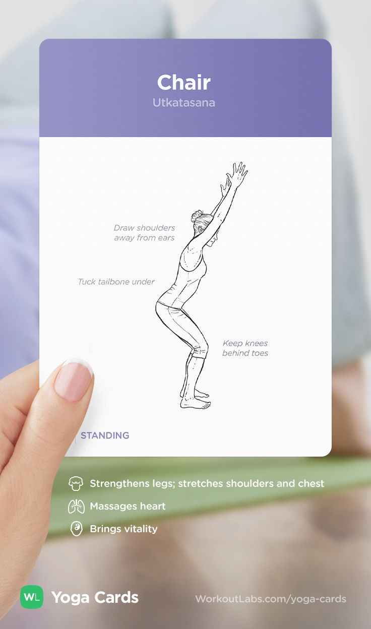 HOW TO: Chair yoga position – visual workout sequence pose and benefits guide for beginners from the YOGA CARDS deck by WorkoutLabs: http://WLshop.co