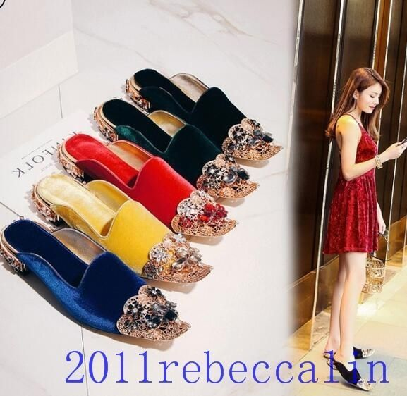 Women Pointed Toe Suede Leather Diamond Wedding Sandals Bead Party Boat Slipper