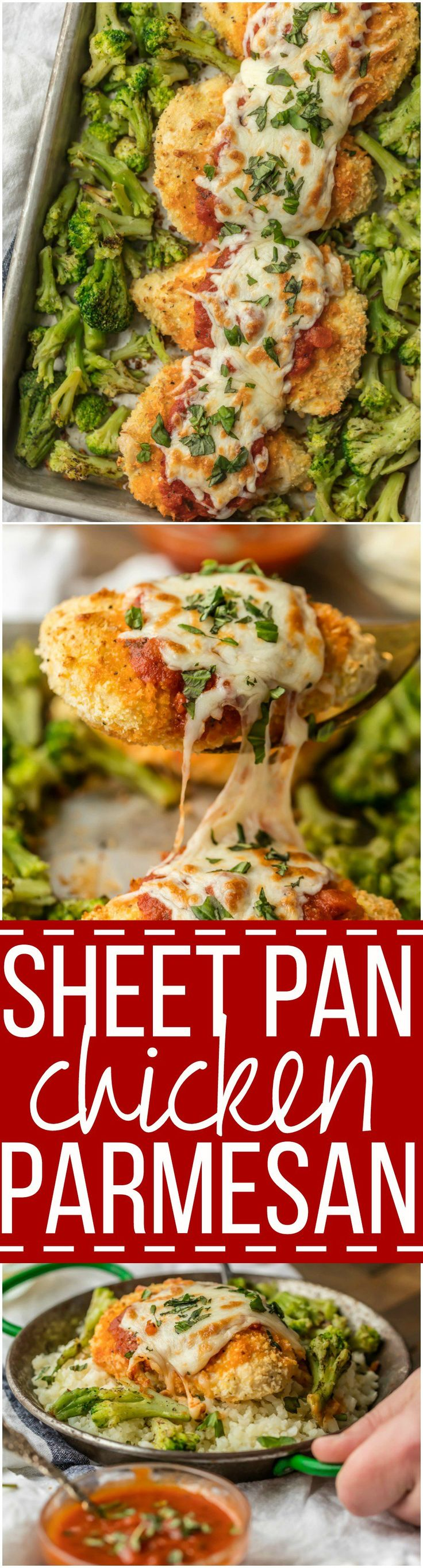 This amazing SHEET PAN CHICKEN PARMESAN with roasted broccoli and riced cauliflower is SO easy and an instant family favorite. Healthy Baked Chicken Parmesan topped with marinara, melty mozzarella, and fresh basil...what could be better?