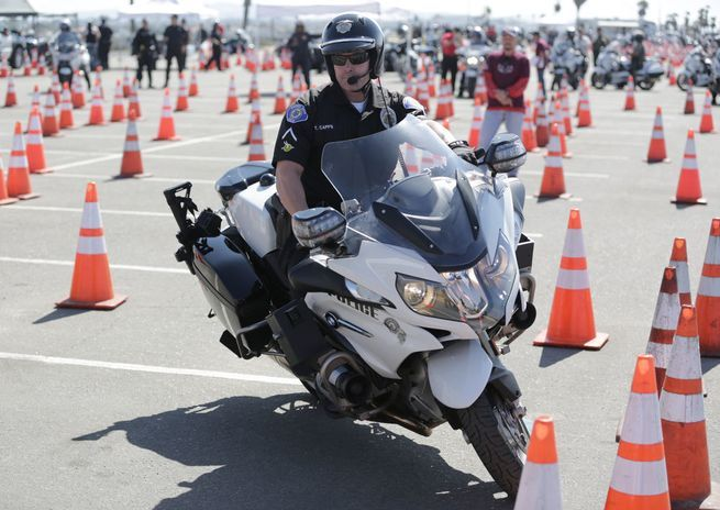 Orange County Police Motor Rodeo riding challenges in Huntington Beach, CA