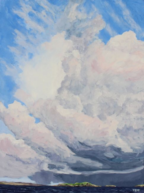 Clouds over West Linga Acrylic on canvas 40x30  inches July 2014  It is generally pretty still in Vancouver, and there are not so many in the summer, so when I look at this piece, it is hard believe that I took this photo only a few months ago in Shetland. I observed these massive cloud columns from the Whalsay ferry and still find the combination of basal rain surrounding sun compelling.