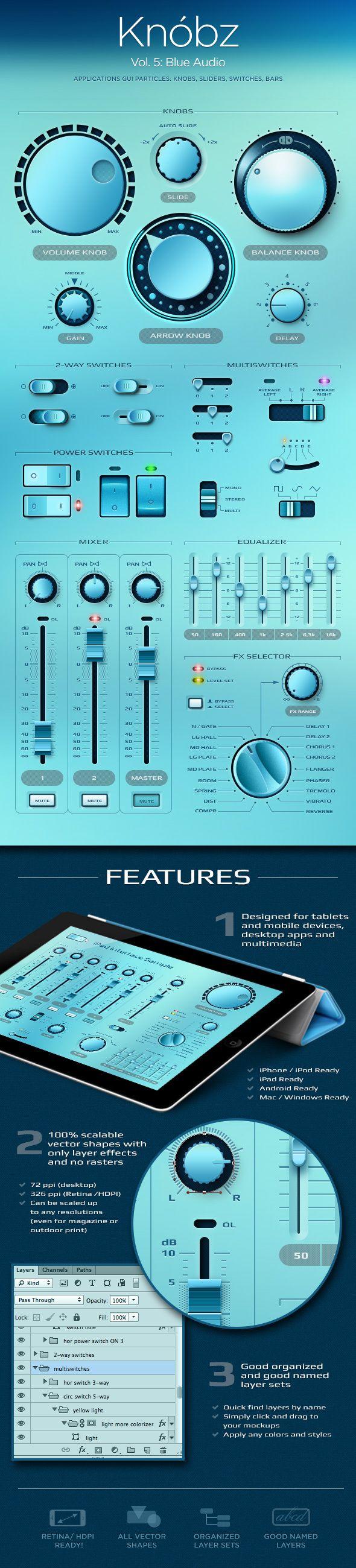 Slick Blue Interface. Love that designers can run with a theme and kill it.   Knóbz Vol.5 Blue Audio by Alexey Kolpikov, via Behance