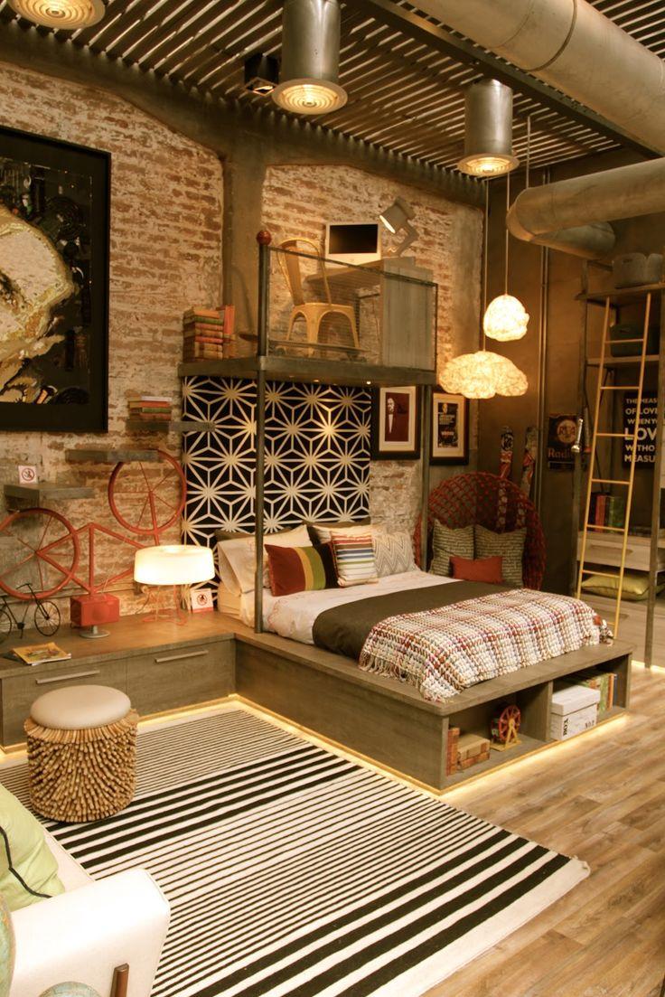 Loft com estilo industrial: espaços amplos, repletos de tijolos e tubulações aparentes, madeira, metal e muito concreto - Loft Casa Cor Chile