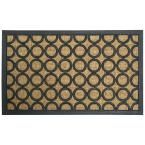 Tranquil Pattern 18 in. x 30 in. Outdoor Rubber Mat, Black-Tan