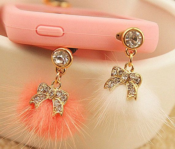 1pcs of Bling Bowknot with Fur Ball Dust Plug  iPhone Earphone Plug Dust Plug on Etsy, $4.98
