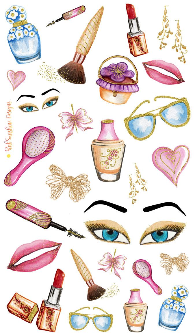 GLITTER and MAKEUP Clipart Stickers Planner Stationery by PinkSunshineSupplies…