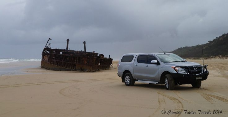 Our Mazda BT-50 at the Maheno Wreck on Fraser Island