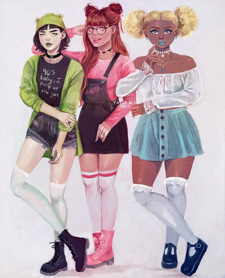 Grown up Powerpuff Girls ✨  I added some race/body diversity because let's be honest we all want to be represented as a powerpuff!  Buttercup is asian, Blossom is a redhead and Bubbles is black  inspired by @audreyghoussoub version which I seen a couple of months ago. I loved it so much I wanted to draw my own ever since!  I might to do a rowdyruff boys  version too so keep a look out