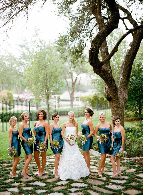 Rustic Peacock Themed Wedding - bridesmaids dresses