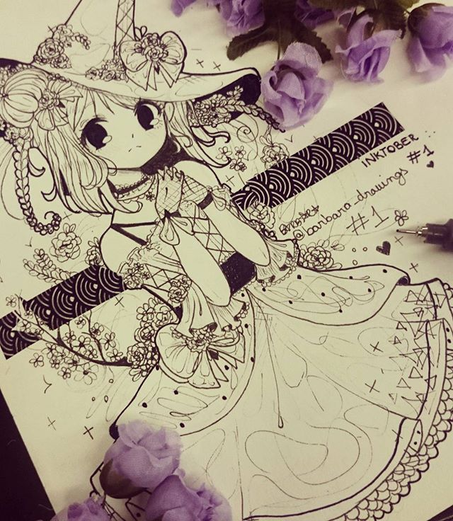 Here is #inktober day 1!! I drew a spring witch!! Hope you all like it!! Idk why i added some purple flowers ;v; Next witch: Urban witch Everyone is doing the #inktober thing, all of them looks awesome!! <33 >w< @ochibrochi . . . #instaartist #instaart #nocolor #purple #flowers #spring #witch #challenge #barbara_drawings <3