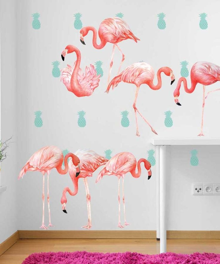 Flamingo Watercolor Wall Decal Room by Chromantics.Our Flamingo Watercolor Wall Decal Kit is perfect for a never ending summer. This kit includes 8 hot pink Flamingos, and 20 Turquoise Pineapples. Easy to Apply || Removable, Reusable & Re-positionable  || No tools Required, Just your own hands. ||Will not damage walls & Leaves no sticky mess behind || Made from Our Genuine Watercolor Illustrations #flamingos