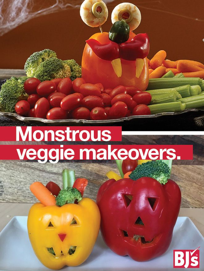 Nail your Spooky Appetizer: use a vegetable platter and create bell pepper monsters served with dip. http://stocked.bjs.com/food/monster-makeovers