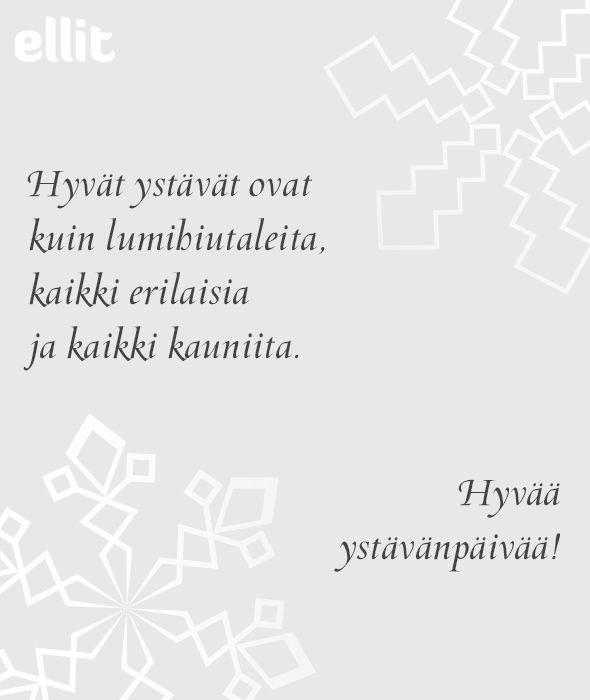 E-kortti: Ystävät kuin lumihiutaleet - Ellit