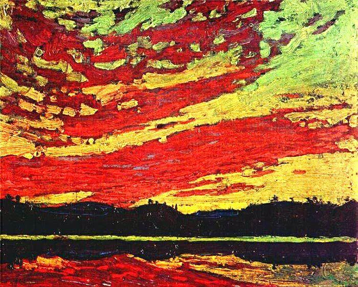 """Sunset""  Oil on canvas  Tom Thomson"